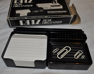 Ritz desk organizer office retro vintage black plastic boxed 60s/70s