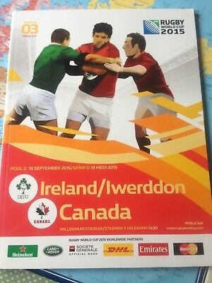 Canada v Ireland rugby World Cup match programme 2015