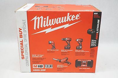 NEW Milwaukee 2689-25P M18 18V Li-ion Cordless 5-Tool Combo Kit Drill Driver Saw