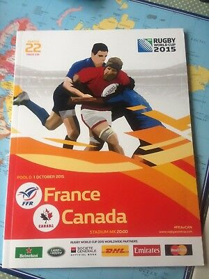 France v Canada rugby World Cup match programme 2015