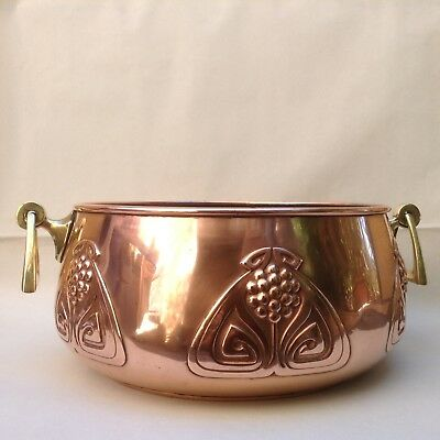 Antique Large Wmf Art Nouveau Copper Brass Planter Jugendstil Ostrich Mark