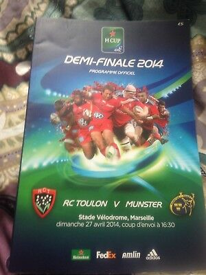 Munster v Toulon European Champions Cup semi-final rugby programme April 2014