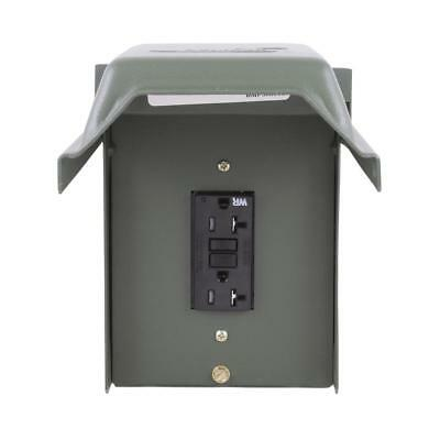 GE 20 Amp Backyard Outlet with GFI Circuit Receptacle Duplex Galvanized Steel
