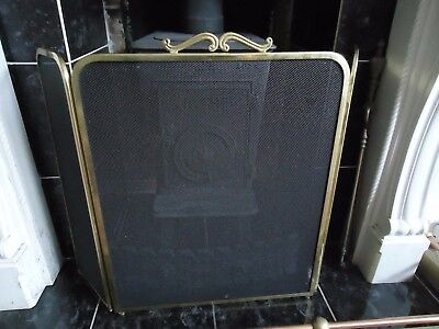 Vintage style Folding Brass and Mesh Hinged Fireguard Firescreen Sparkguard