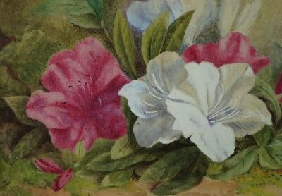 Antique 19th Century Victorian Floral Watercolour Painting English C 1890