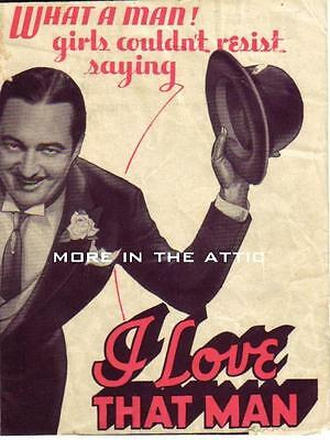 Edmund Lowe Nancy Carroll I Love That Man Orig Paramount Pictures Us Herald