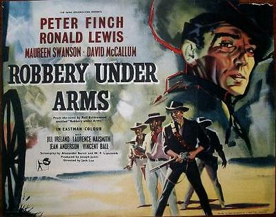 Peter Finch Ronald Lewis Robbery Under Arms Orig Rank Films Western Half Sheet