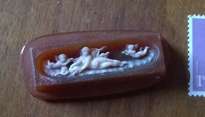 19 th C Amber & Pink  Glass Grand Tour Style Putti  Cameo #13101720