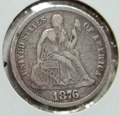 1876-cc Seated Dime, Decent Lower Mid Grade Coin. Silver from the Comstock Lode!