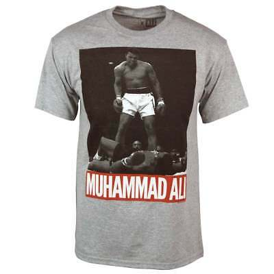 Muhammad Ali T Shirt Mens Official Cassius Clay Standing Over Boxing Gm Grey