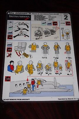 Safety Card British Airways Bae Jetstram 31