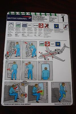 Safety Card British Airways Canadair Regional Jet Operated By Maersk Air