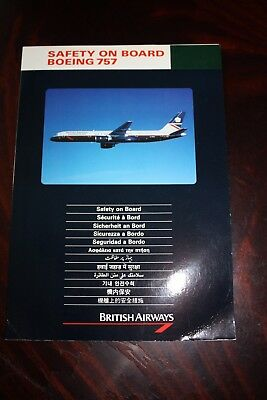 Safety Card British Airways Boeing 757