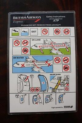 Safety Card British Airways British Aerospace Atp