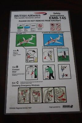 Safety Card British Airways Embraer Emb-145