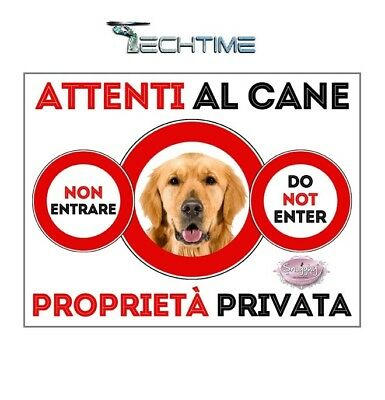 Cartello Golden Retriever Attenti Al Cane In Ferro Zincato Con Calamite