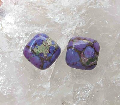 13.00Ct. NATURAL SPIDER WEB PURPLE COPPER TURQUOISE CUSHION CAB LOOSE GEMSTONE