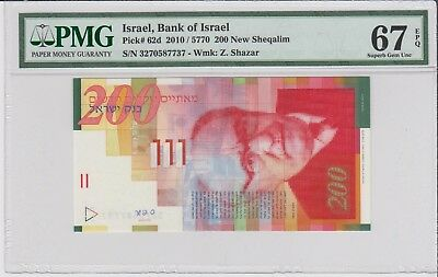 ISRAEL 200 NEW SHEQALIM ** 2010 ** P#62d .Superb Gem UNC PMG 67 EPQ