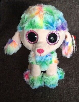 """TY Beanie - Rainbow The Poodle - 6"""" - New With Tag"""