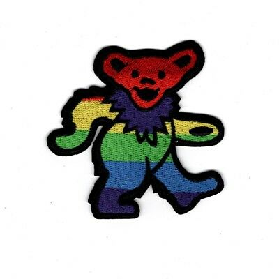 "3"" Grateful Dead Rainbow Dancing Bear patch Iron on patches free us pride"