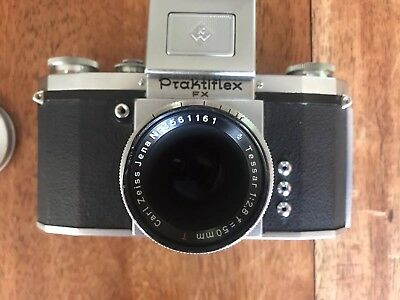 Vintage German KW Praktiflex FX 35mm SLR Camera Tessar Carl Zeiss Lens, Case Box
