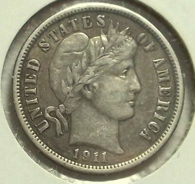 1911 P Barber Dime VF, Nice Antique Patina, Nice looking Coin