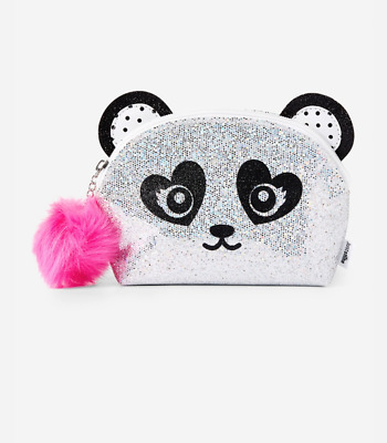 Justice glitter panda cosmetic pouch bag