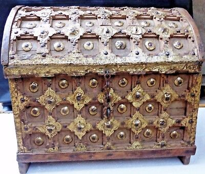 19th century Wood Box Dowery Chest Dome shape top Brass ornamented Carved India