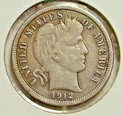 1912 P Barber Dime VF, Nice Antique Patina, Nice looking Coin