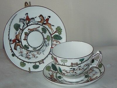 Crown Staffordshire Hunting Scene TRIO  CUP & SAUCER & TEA PLATE Fox Hounds