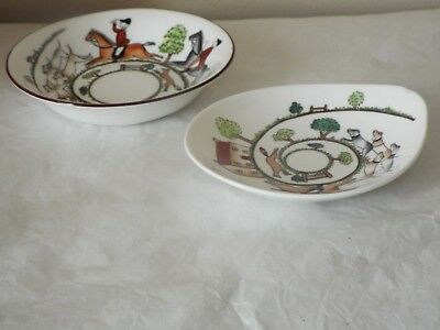 """Crown Staffordshire Hunting Scene 5"""" FRUIT SAUCER / BOWL & OVAL DISH Fox Hounds"""