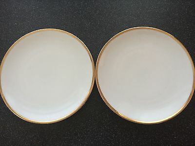Unwanted 2 White Thomas Thick Gold Band Side Plates 17.5 Cms