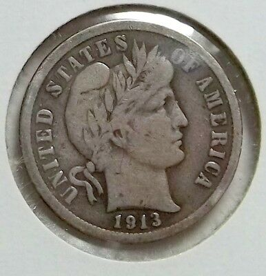 1913 P Barber Dime VF, Nice Antique Patina, Nice looking Coin