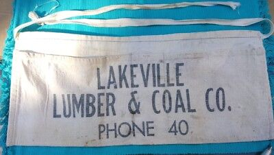 Vintage Lakeville Lumber & Coal Carpenter Apron Nail Apron, Indiana Advertising