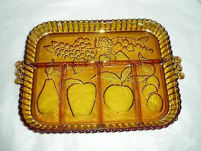 vintage Amber Carnival glass relish tray , fruit motif , glass platter