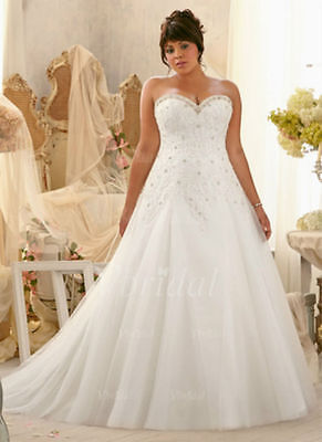 2017 Plus Size White/Ivory Bridal Gown Lace Wedding Dress:14/16/18/20/22/24/26