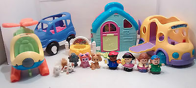 Fisher Price Little People School Bus Car Helicopter Pet Salon Grooming Figures