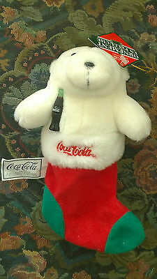 """Coca Cola Ornement Bear in Christmas Stocking Plush 7"""" long"""