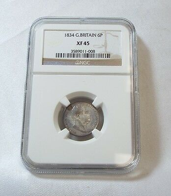 1834 Great Britain King William IIII Silver Sixpence CERTIFIED NGC XF 45