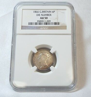 1866 Great Britain Queen Victoria Silver Sixpence CERTIFIED NGC AU 50 Die #14