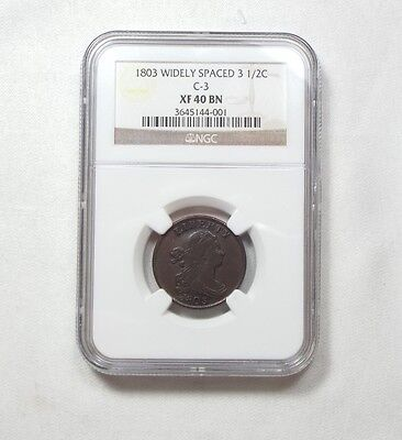 """1803 Widely Spaced """"3""""  Draped Bust Half Cent CERTIFIED NGC XF 40 BROWN C-3"""
