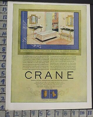 1924 Crane Bathroom Tub Sink Design Tile Plumb Home Decor Vintage Art Ad  Bp88