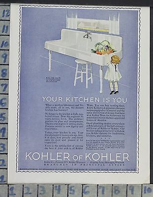 1923 Home Decor Kitchen Kohler Sink Plumbing Produce Cleaning Vintage Ad Cp52