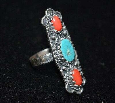 Vintage Navajo Old Pawn 925 Sterling Silver Natural Turquoise &cora Ring Jewelry