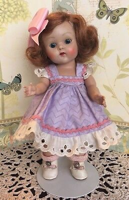 Vintage Vogue Ginny doll full tosca colored hair bright blue eyes Lavender dress
