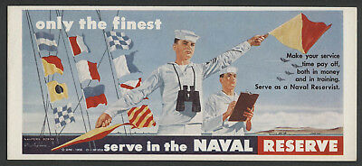 Scarce 1958 US NAVAL RESERVE Recruitment Poster Style Advertising Blotter