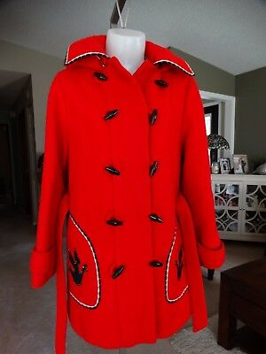 Stunning Hudsons Bay Vintage 100%wool Toggle Belted/hooded Coat Small
