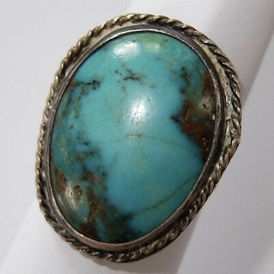 Big Vintage Old Pawn Native American Southwest Sterling Silver Turquoise Ring
