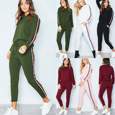 UK 2Pcs Women Tracksuit Hoodies Sweatshirt Pants Set Lounge Wear Sport Suit 6-20