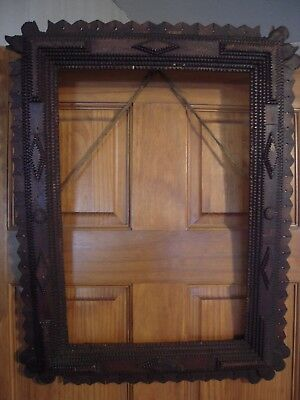 """Vintage Tramp Art Hand Carved Wood Frame From Wood Cigar Boxes 25x19"""""""